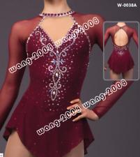 New Ice Figure Skating Dress Baton Twirling Dress  customized burgundy handmade