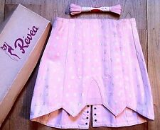 FRENCH 1940s WOMAN BACK LACE BONED CORSET - PINK FLORAL BROCADE - NEW & BOX - S