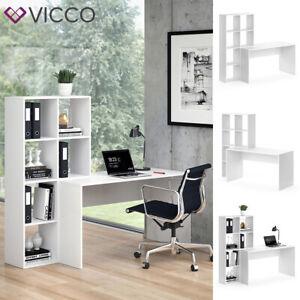 Vicco Schreibtisch mit Regal Mara Weiß Raumteiler Computertisch Arbeitstisch