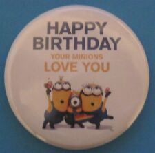 New  Happy Birthday (Minions Theme) 50mm Pin Button Badge