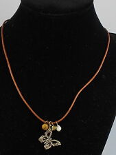 Fossil BRAND Gold Tone Pave Butterfly Tigers Eye Charm Pendant Leather Necklace