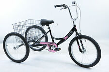 "20"" WHEEL TRIKE,PEDAL PALS TRI-MANTIS TRICYCLE INSIDE LEG 21""-26"" BLACK PINK"