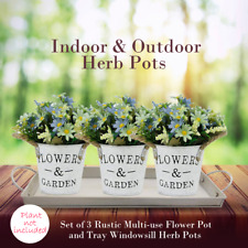 In&Outdoor Herb Pots, Set of 3 Rustic Multi-use Flower Pot and Tray Window sill