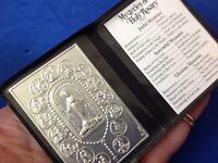 MYSTERIES OF THE ROSARY Silver Metal Saint Plaque Folder Pocket Catholic SHRINE