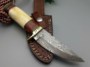 DAMASCUS STEEL HUNTING DAGGER KNIFE BRASS GUARD WTH BONE HANDLE & LEATHER SHEATH