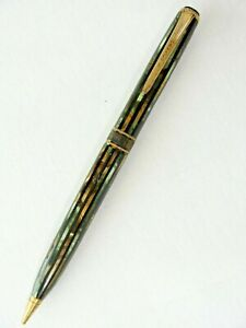 Vtg Parker Duofold Mechanical Pencil Green Gold Mother Of Pearl Black Striped