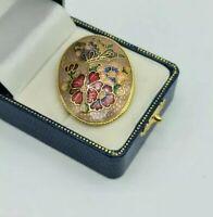 Vintage enamel floral flower Brooch pin gold pink tone Cloisonné style