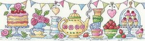 HERITAGE CRAFTS AFTERNOON TEA COUNTED CROSS STITCH KIT BY KAREN CARTER NEW CAKES