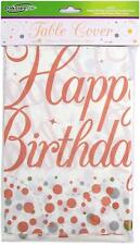 Rose Gold Happy Birthday  Sparkling Fizz Plastic Table Cover Party Tableware