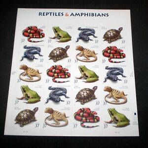 Complete Sheet of 20 (37¢) Reptiles & Amphibians Stamps