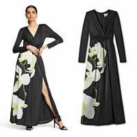 ALTUZARRA for Target Women's  Floral Print V-Neck Black Maxi Dress  M L New