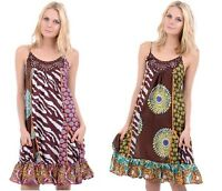 Ladies Womens Bohemian Multi Print Summer Casual Holiday Dress. Sizes: UK8-12