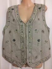 Embroidered Vest Floral Tan Khaki Button Up SZ Large SEE MEASUREMENTS