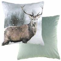 Evans Lichfield Winter Xmas Stag Cushion Cover or Filled 43cm Velvet Reverse