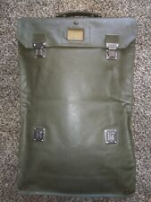 Vintage Homa Suitcase/Briefcase Military Green Leather Luggage Heavy Dutty