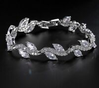 "14ct White Gold Over Silver 6.60Ct Marquise & Round Diamond Accent 7"" Bracelet"