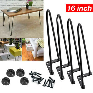 4x 16'' Black Hairpin Legs Set for Furniture Coffee Cabinet Table Steel Painted