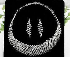 Fancy Silver Sparkling Party Necklace and Earring Jewellery Set