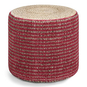 SIMPLIHOME Larissa Round Braided Pouf, Small Parcel, Natural and Maroon
