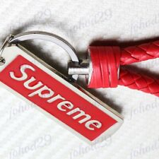 NEW Red Supreme Metal Pendant with Calf Leather Keychain Key Ring Key Chain x1