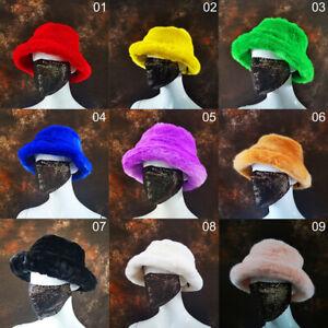 Women Winter Warm Faux Fur Fluffy Plush Fleece Bucket Hat Vacation Fisherman Cap