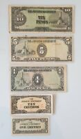 Vintage Japanese Government Sen & Pesos Notes 1943 WW2