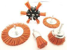 Nylon Abrasive Filament Brush Drill Spindle 6mm Shank De Burring Rust 5pc AB160