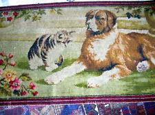 Antique Victorian 1900's Cat Dog St. Bernard Tapestry Rug Textile