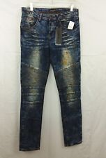 Rue 21 Jeans CJ Black Premium 30x32 Moto Skinny Flex Dirty Rust Washed Mid NEW