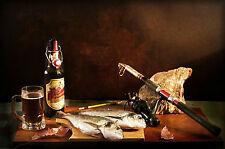 Incorniciato stampa-ANCORA VITA Pesca Rod & in bottiglia birra (foto poster arte Pesce)