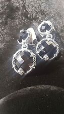 STERLING SILVER CZ 2 CIRCLE ONYX CLIP ON EARRINGS BY JUDITH RIPKA