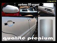 Film Vinyle Covering CARBONE gris argent 3D 150 x 50 cm thermoformable adhésif