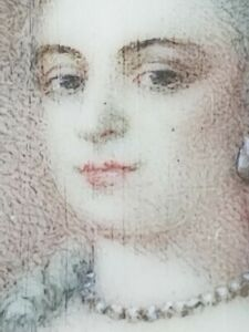 Antique English Miniature Portrait Painting of A Lady & Frame 18th Century 1700s