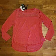 NEW Women's Tomato Red SEVEN 7 Jewel Bling L/S Shirt Size Medium M $49