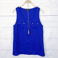 Forever New Womens Top 8 Pocket Button Casual Tank Blouse Blue Beach Summer D330