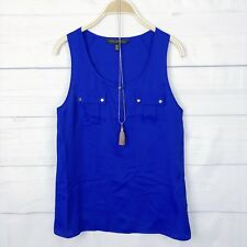 Forever New Womens Top 8 Pocket Button Casual Tank Blouse Blue Beach Summer D330