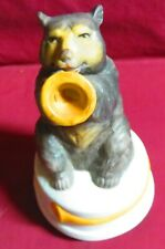 VINTAGE CERAMIC MUSIC BOX, WITH A BEAR CUB PLAYING A TRUMPET