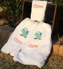 Personalized Embroidered Turquoise Elephant Splashing Water 3 pc Bath Towel Set