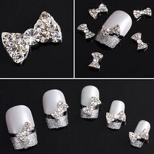 3D Clear Rhinestone Nail Art Bows FREE P&P (D2)