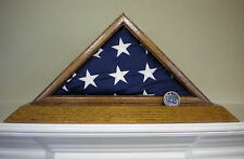 3 X 5 OAK FLAG DISPLAY CASE BOX WITH COIN SLOT US AMERICAN MILITARY CAPITAL USA