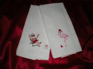 TWO WHITE TROPICAL PINK FLAMINGO, SANTA CLAUS, ORNAMENT CHRISTMAS KITCHEN TOWELS