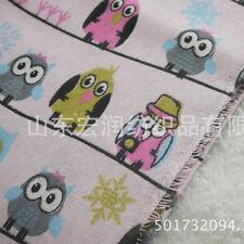 50x150cm Cotton Linen Fabric DIY Craft Material Print Owls Line Pink Botton 81 F