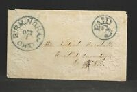 Ohio: Birmingham 1850s Stampless Ladies Cover, Blue CDS, Circled PAID 3, Erie Co