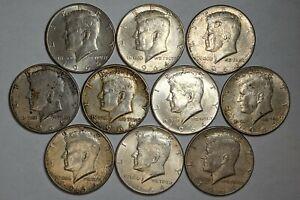Lot of 10 1964 90% Silver Kennedy Half Dollars 189574p