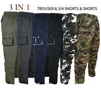 Mens 3 IN 1 Combat Cargo J11565 Trousers Pants Shorts 3/4 Zip Off Light S-XXL