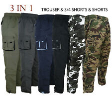 Mens 3 IN 1 Combat Trousers Cargo Pants Shorts 3/4 Zip Off Light S-XXL Summer