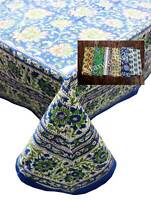 Hand Block Print Tablecloth Napkins 100%cotton Floral Rectangular 150*220cm Blue