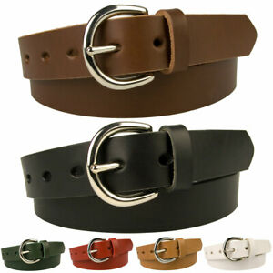 Womens Leather Jeans Belt Choice of 6 Colours Made In UK With Full Grain Leather