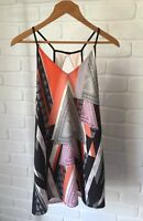 Multi-coloured Geometric Print Summer Dress Keyhole Back Valleygirl Size 8