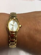 Citizen Eco-Drive Womens Oval Shaped Gold Tone Watch